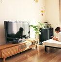 ルーバータイプのおしゃれな テレビ台 ローボード 幅150cm タモ材(ナチュラル、ブラウン) 格子 ...