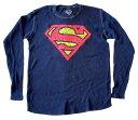 【スーパーマン/Super Man】 長袖Tシャツ『KRYPTONIGHT・ロゴ/Sサイズ(NV)』DC・DCコミックス・ワッフル生地・アメキャラ・アメコミ・アメリカン雑貨・ロングスリーブ