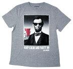 ◎【リンカーン】大人・メンズ Tシャツ『KEEP CALM AND PARTY ON (杢GY)』アメリカ大統領