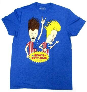 【ビーバス&バットヘッド/BEAVIS AND BUTT-HEAD】 大人・メンズTシャツ『ロックンロール・アメリカ国旗』MTV アメキャラ キャラクター キャラクターTシャツ 音楽 ブルー 青