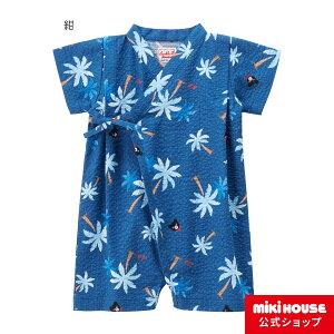 ミキハウス ダブルビー mikihouse ヤシの木柄甚平オール〈S-M(60cm-80cm)〉 ベビー用品 ベビー 赤ちゃん 男の子 ブルー