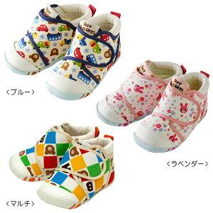 【アウトレット】ミキハウス ホットビスケッツ mikihouse マルチチェック&車&小花 ファーストベビーシューズ(11.5cm-13cm) ベビー 赤ちゃん 男の子 女の子 靴 プレゼント 出産祝い