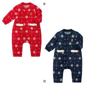 ミキハウス mikihouse ニットキルトジャカード カバーオール(70cm・80cm) 男の子 女の子 子供 ベビー服 ベビー 赤ちゃん 長袖 かわいい 暖かい ニット ボア フリース 雪柄 co202012h_1