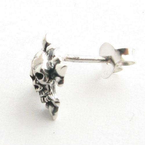 ピアス 小さな スカル 骸骨 クロス 十字架 ガイコツスタッドピアスシルバー製Silver925ピアス ae-5151