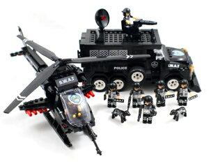【AFM ミリタリーブロックシリーズ/特殊部隊車輌】AFM SWAT シリーズ タイガー号&アパッチ号&ミニフィグ7体 716Blocks◆ヘリコプター/スワット