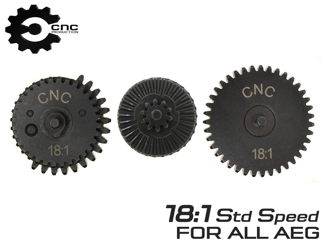 CNC Production 18:1 スチールCNCギアセット◆スタンダード電動ガン用 マルイ純正ギア比 高強度スチール削り出し AEG Ver2 3 4 6 7 ギヤ画像