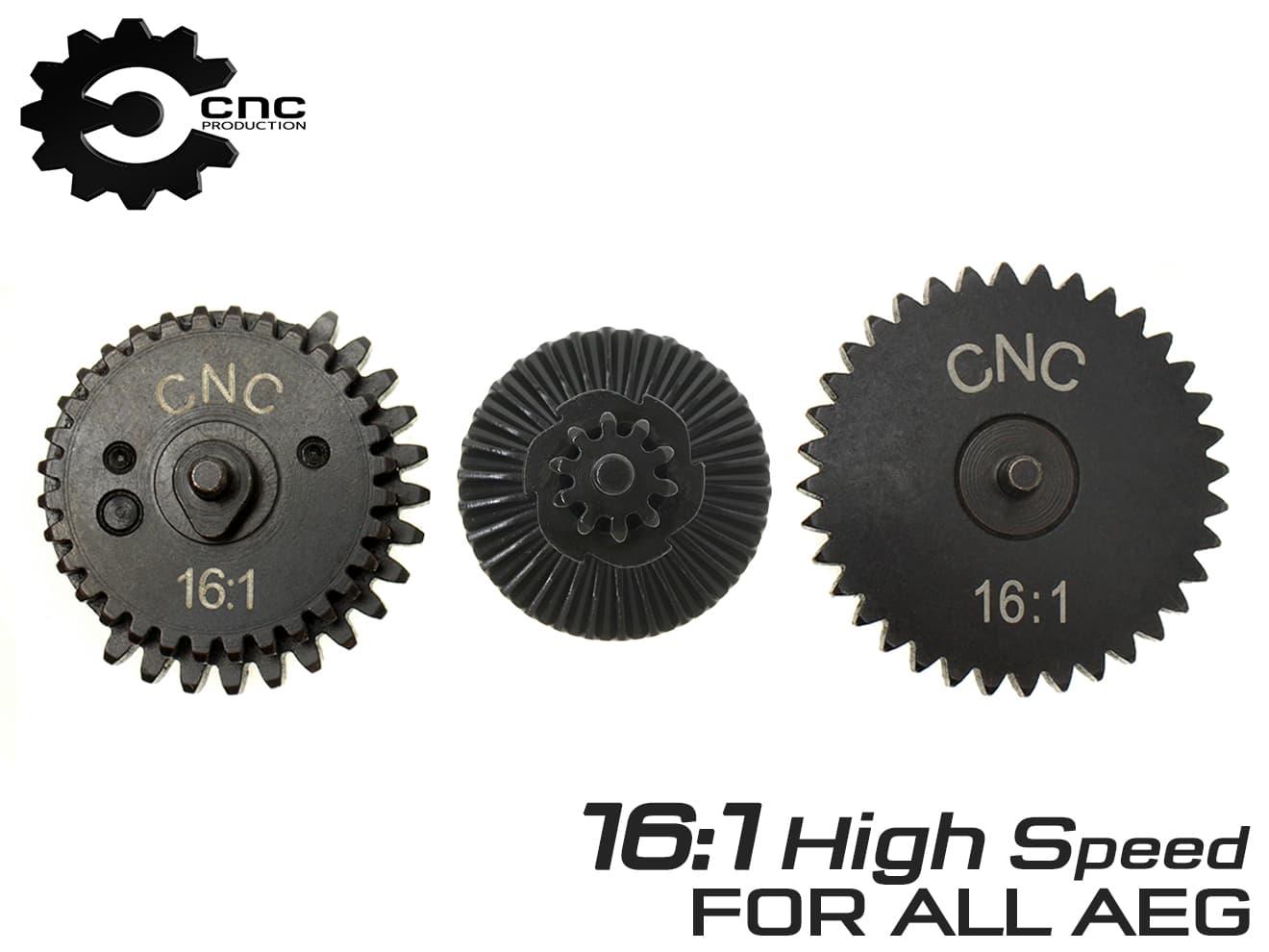 CNC Production 16:1 スチールCNCギアセット◆スタンダード電動ガン用 高強度 スチール削り出し AEG Ver2 3 4 6 7 ハイスピードギヤ画像
