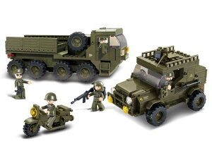 【AFM ミリタリーブロックシリーズ/陸軍】LAND FORCES 陸上特殊部隊セット◆455ピース/軍用車両2台&軍用バイク1台