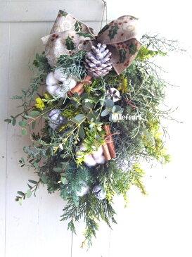 クリスマスリース 玄関 スワッグ 35cm 生リース クリスマスリース 玄関 送料無料 (一部地域を除く)