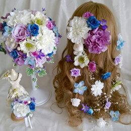 ボリューム髪飾りオーバルブーケブートニア3点セットシックピンクラプンツェル風