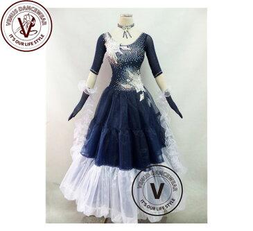 ■ヴィーナスダンスウェア(VENUS DANCEWEAR)ネイビーコンペティション ボールルーム ダンスドレス・■(社交ダンス 衣装 ウェア ドレス トップス スカート シューズ ダンス トップス 服 パンツ ドレス)