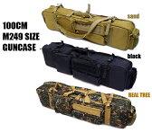 ガンケース M249 サイズ対応 100cm シングル&ダブル ライフルケース M4 2丁 ガンケース BK DE リアルツリー ミリタリー サバイバルゲーム 装備