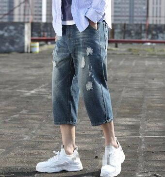 夏デニムパンツ メンズ ショートパンツ デニム   無地 コットン ハーフパンツ 七分丈 短パン チェックパンツ 膝上 ひざ上 ゆったり 大きいサイズ  ダメージ加工