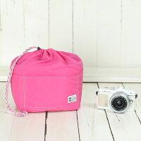 おしゃれふわふわソフトタイプカメラ用12ポケットインナーバッグ/フューシャピンク