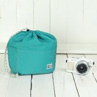 おしゃれふわふわソフトタイプカメラ用12ポケットインナーバッグ/ターコイズブルー