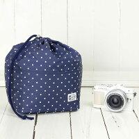 おしゃれふわふわソフトタイプカメラ用12ポケットインナーバッグ/ネイビードット
