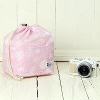 おしゃれふわふわソフトタイプカメラ用12ポケットインナーバッグ/フラッフィーピンク