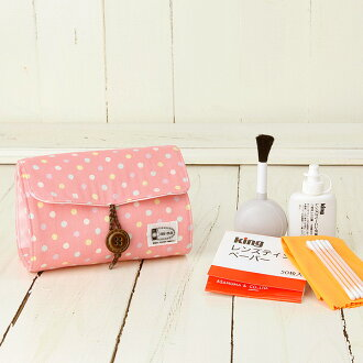 Camera girl ♪ cute pouch and camera care set / Strawberry dots