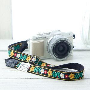 カメラストラップ 一眼レフ かわいい おしゃれ mi-na ミーナ / 北欧風レトロフロ—ラル ブラック/長さ調節タイプ