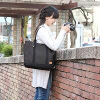 インナーケース付きカメラバッグ♪おしゃれでかわいい11号帆布のカメラトートバッグ/チャコールブラックチェック