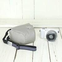 カメラケースcameracaseカメラカバーMI-NAミーナおしゃれかわいい女子一眼レフミラーレス「カメラのお洋服ミニ」ライトグレー帆布needlework(刺繍)シリーズ