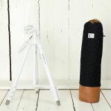 三脚 軽量 ビデオカメラ ミラーレス一眼 かわいいケースとコンパクト三脚(ホワイト)の2点セット/ エレガントブラックレディードット
