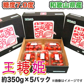 【送料無料】【ミニトマト】王糖姫(おとひめ)約350g×5パック入り