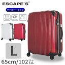 スーツケース Lサイズ 大型 7泊 〜 長期向き 1週間 ファスナータイプ TSAロック付 拡張 容量アップ 無料受託手荷物最大サイズ 送料無料 1年保証付 ≪ESC2007≫65cm