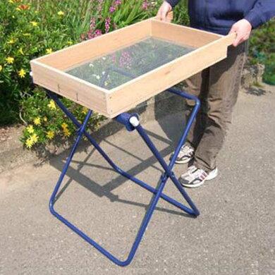 手動式砂・土ふるい器セット《ローラー台+木製篩い付き》