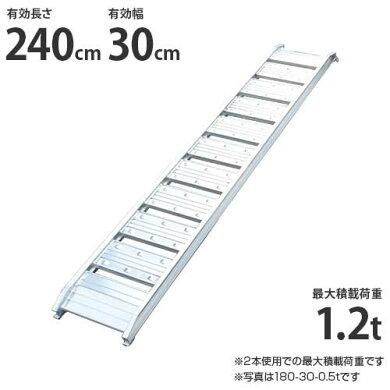 シンセイアルミブリッジ240-30-1.2t1本のみ(最大積載荷重1.2t/全長242cm/有効幅30cm)[道板ラダーレールスロープトラック][r20]