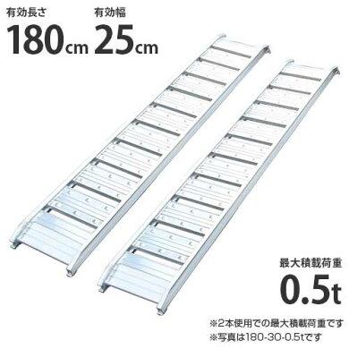 シンセイアルミブリッジ180-25-0.5t2本セット(最大積載荷重0.5t/全長182cm/有効幅25cm)[道板ラダーレールスロープトラック][r20]