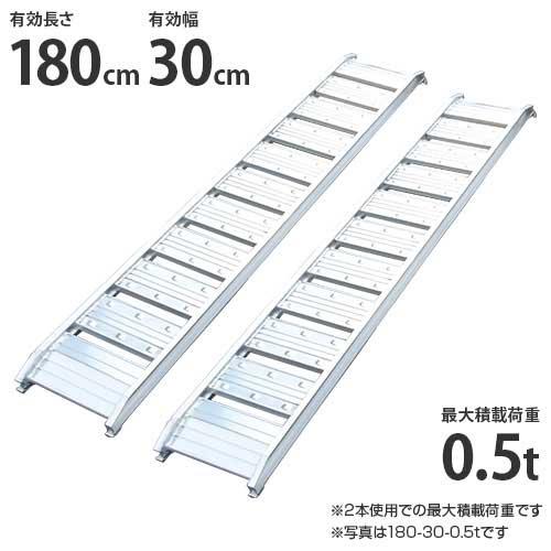 シンセイ アルミブリッジ 180-30-0.5t 《2本セット》 (積載荷重0.5t/全長182cm/有効幅30cm) [道板 ...