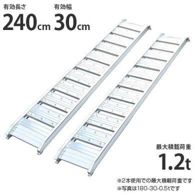 シンセイアルミブリッジ240-30-1.2t2本セット(最大積載荷重1.2t/全長242cm/有効幅30cm)[道板ラダーレールスロープトラック][r20]