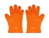 耐熱 シリコン 手袋 キッチン 手袋 オーブン バーベキュー 用 グローブ 滑り止め 防水 5本指 キッチン 手袋 オレンジ 【送料無料】ctr-b21