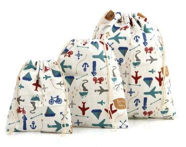 おしゃれ かわいい のりもの 巾着 袋 大 中 小 3点 セット コップ袋 体操着袋 入園準備 にも 旅行 学校 【送料無料】mmk-i66