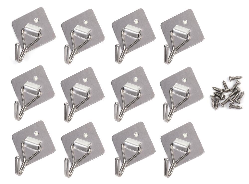 超強力 フック粘着 12本パック ステンレス 壁掛け ウォールフック  フックが上下に動くタイプ       mmk-k65
