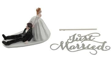 ケーキトッパー ウェディング ケーキ デコレーション かわいい キャラクター & JUST MARRIED セット 【送料無料】mri-b85