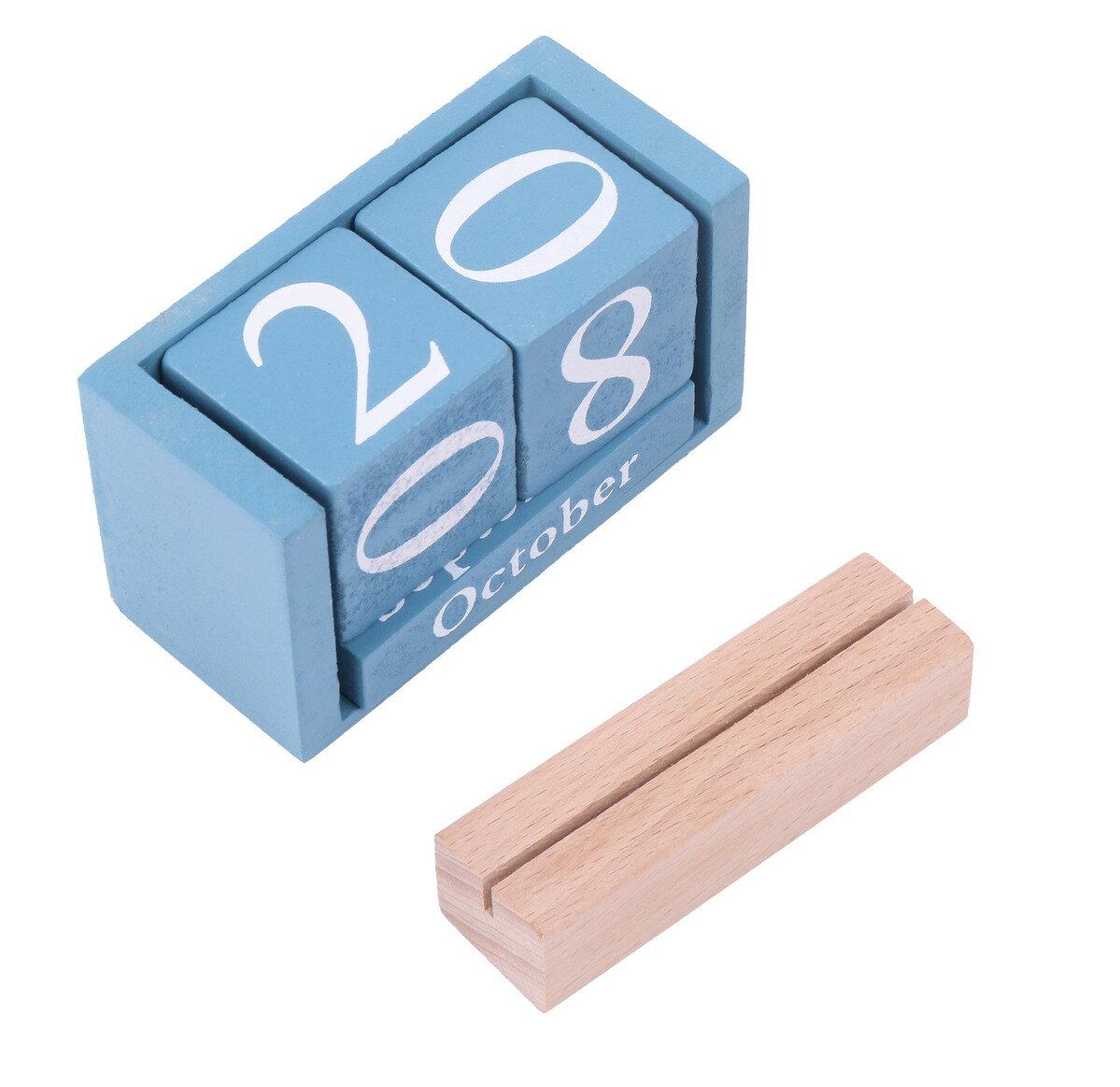 木製 万年カレンダー ナチュラル ウッド & カードスタンド インテリア おしゃれ ブロック 卓上 ブルー 【送料無料】mri-c24