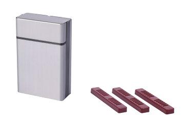 シガレットケース シガレットボックス グレー& タバコ 携帯加湿器 3個 ヒュミドール 喫煙具 手巻き 【送料無料】mri-c52