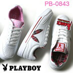 プレイボーイスニーカーPLAYBOYPB-0843ローカットホワイト/ピンク・ホワイト/レッド