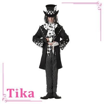 ハロウィン コスプレ 2018 Tika ティカ 7点set ダークマッドハッターコスチュームセット (ロングジャケット+ベスト+帽子+ズボン+リボンネクタイ+手袋+シューズカバー)仮装 衣装 メンズ 大人