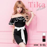 Tikaティカラメカシュクールバイカラー編み上げスカートタイトミニドレス(ホワイト×ブラック/ブラック×ブラック/レッド×ブラック/ピンク×ブラック)(S/M/L)