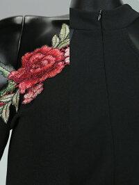 【あす楽】Tikaholic肩だしローズ刺繍タイトミニドレスブラックSMLサイズ大きいサイズキャバキャバドレスキャバ嬢キャバクラミニドレスワンピースキャバワンピタイトドレスタイトワンピース膝丈花柄長袖袖あり格安激安