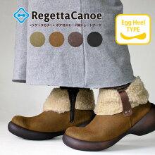 RegettaCanoe-リゲッタカヌー-CJES-6123エッグヒールボア付きスエード調ショートブーツ