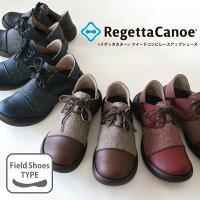 RegettaCanoe-リゲッタカヌー-CJFS-6803フラットシューズツイードコンビレースアップシューズ