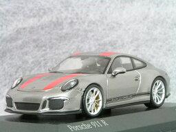 ミニチャンプス 1/43 ポルシェ 911 ( 991 ) R / シルバー・レッド ストライプ