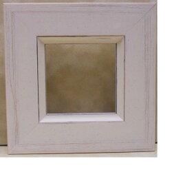 額縁アンティークおしゃれ正方形フレームB-31014ホワイト額縁サイズ100mm×100mm窓枠サイズ86mm×86mm額縁外サイズ166mm×166mm2mmアクリル裏板付壁掛け用/卓上スタンドは付いておりません。