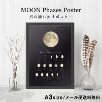 【NEW】月の満ち欠けポスターA3サイズMOONPhasesDiagram【メール便送料無料】