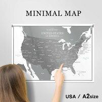 A2サイズUSAアメリカ合衆国インテリアポスターUnitedStatesofAmerica英語・日本語表記白黒ミニマルマップ