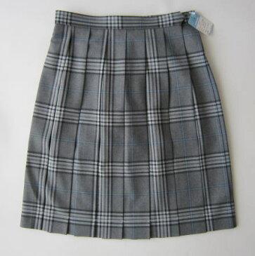KURI-ORI スクールスカート 48cm丈 グレー×水色クリオリ チェックプリーツスカート